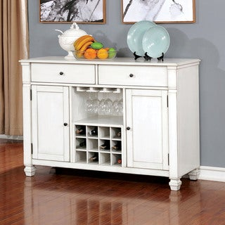 Furniture of America Timm Transitional White Solid Wood Dining Server