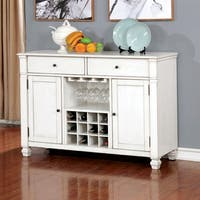 Furniture of America Aubrie Antique White Wood/Veneer Transitional Dining Server