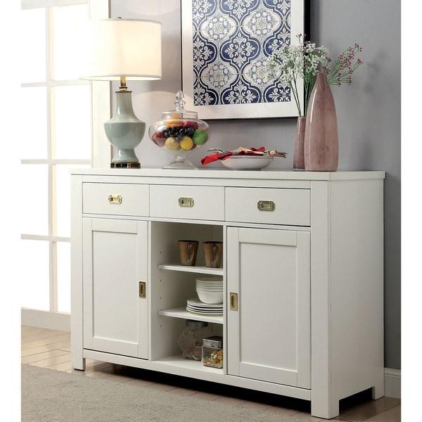 Furniture of America Winona White Wood Dining Server