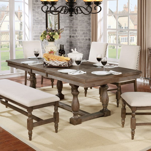 Furniture Of America Isla Rustic Wire Brushed Grey 90 Inch Dining Table With Leaf