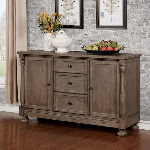 Furniture of America Isla Rustic Wire-brushed Grey Wood Multi-storage Server
