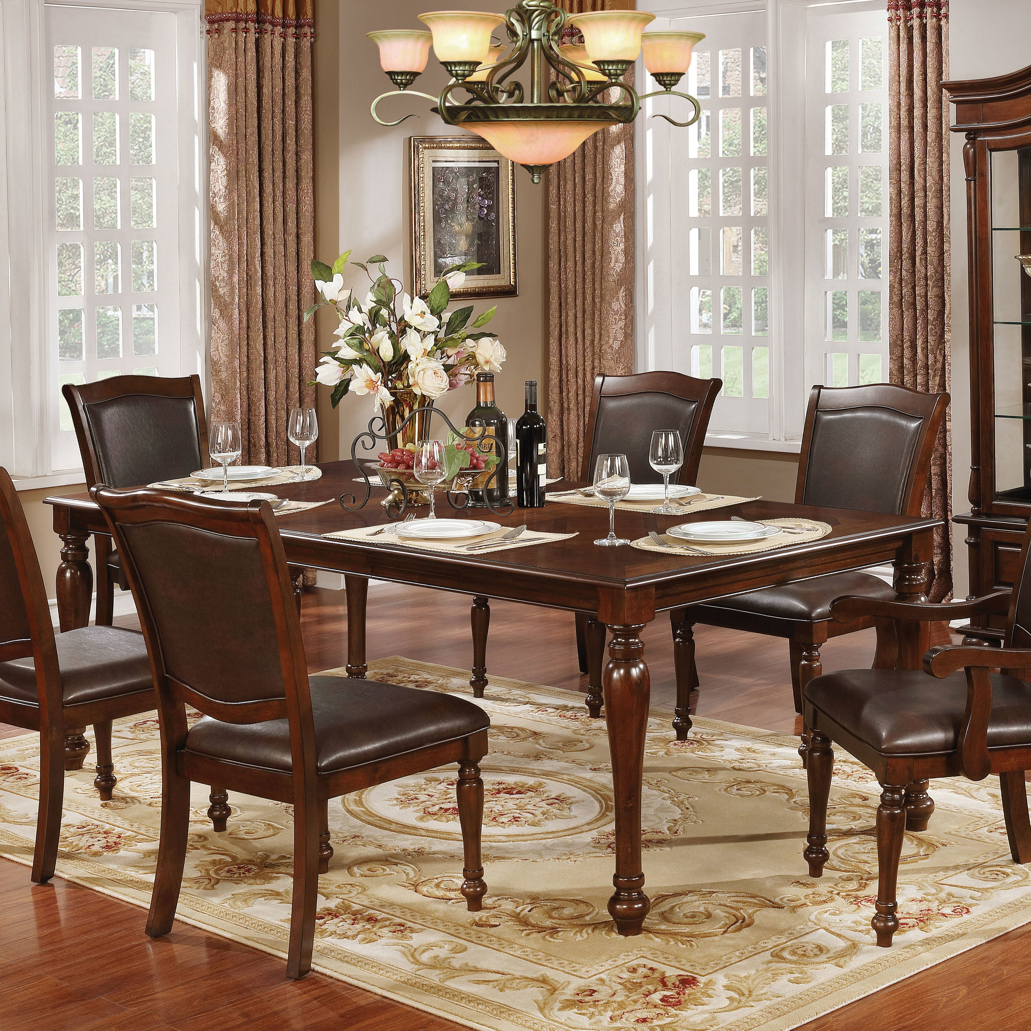 Furniture Of America Renoir Traditional Brown Cherry Wood Inch - 84 inch dining room table