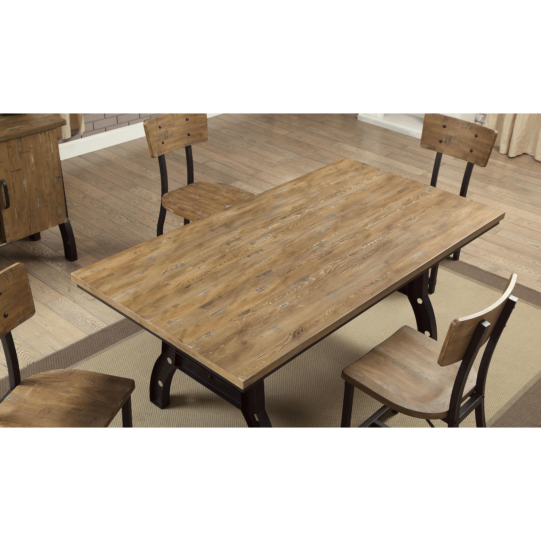 Furniture of America Tallon Industrial Rustic Oak Metal 72-inch Dining Table