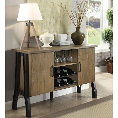 Furniture of America Wuff Industrial Oak Metal 2-cabinet Dining Server