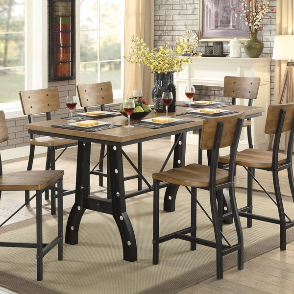 Furniture Of America Tallon Rustic Oak Metal Counter Height Table