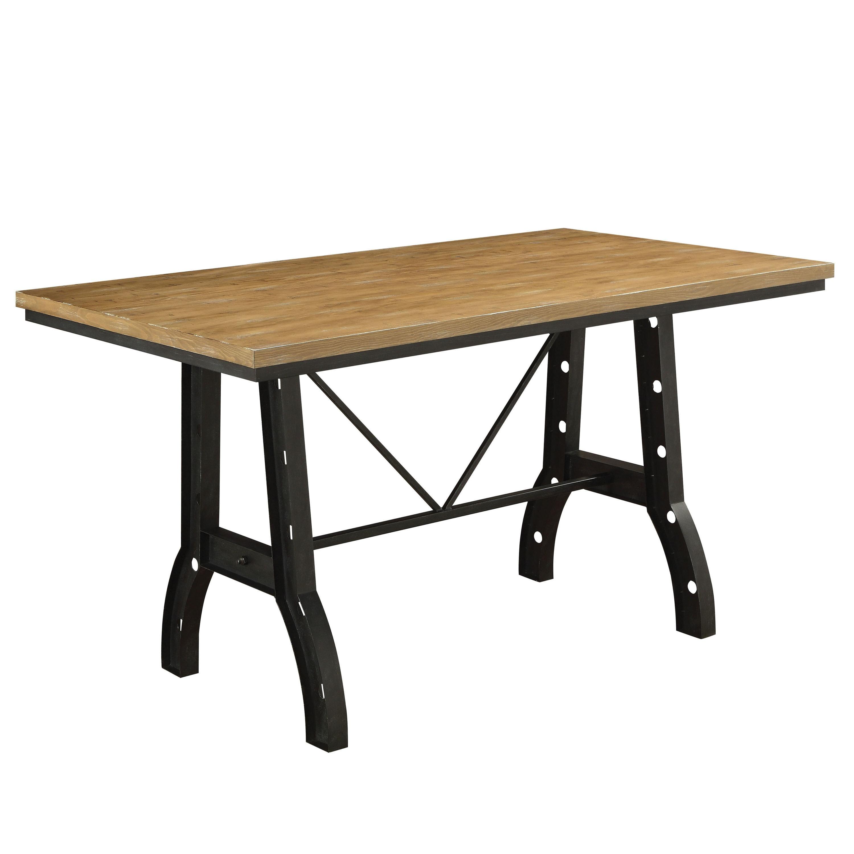 Furniture of America Tallon Industrial Rustic Oak/Metal Counter-Height  Table - Oak
