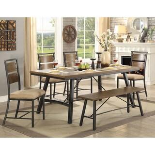 Furniture of America Zine Industrial Grey 72-inch Metal Dining Table