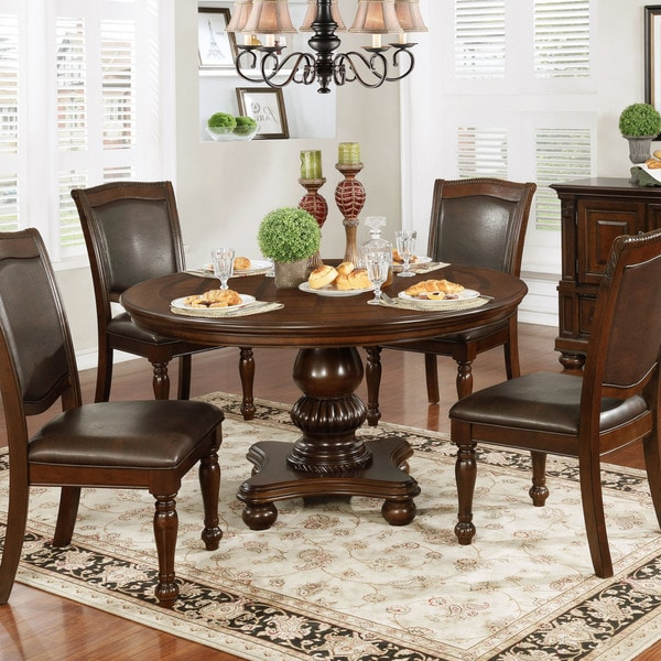 Brown Traditional 5 Piece Round Dining Set Cally: Shop Copper Grove Madzharovo Traditional Brown Cherry 54