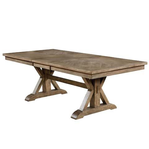 Furniture of America Dice Rustic Oak 90-inch Solid Wood Dining Table