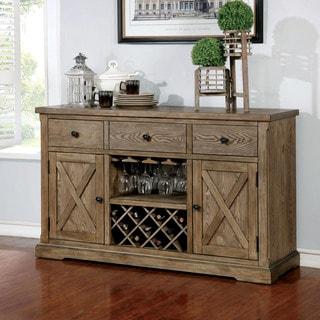 Furniture of America Dice Rustic Oak Solid Wood 3-drawer Dining Server