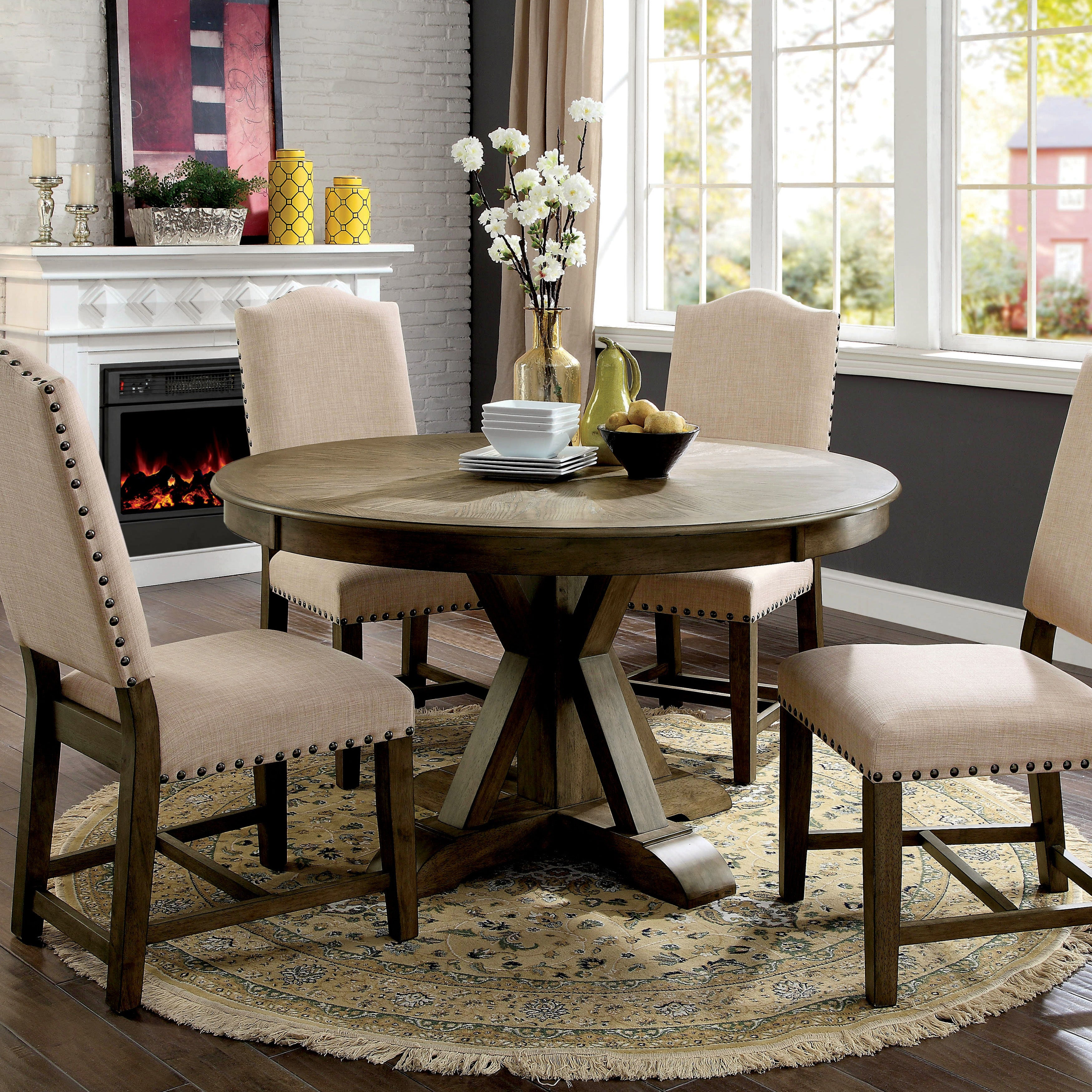 Furniture Of America Cooper Rustic Light Oak Round 54 Inch Pedestal Dining Table