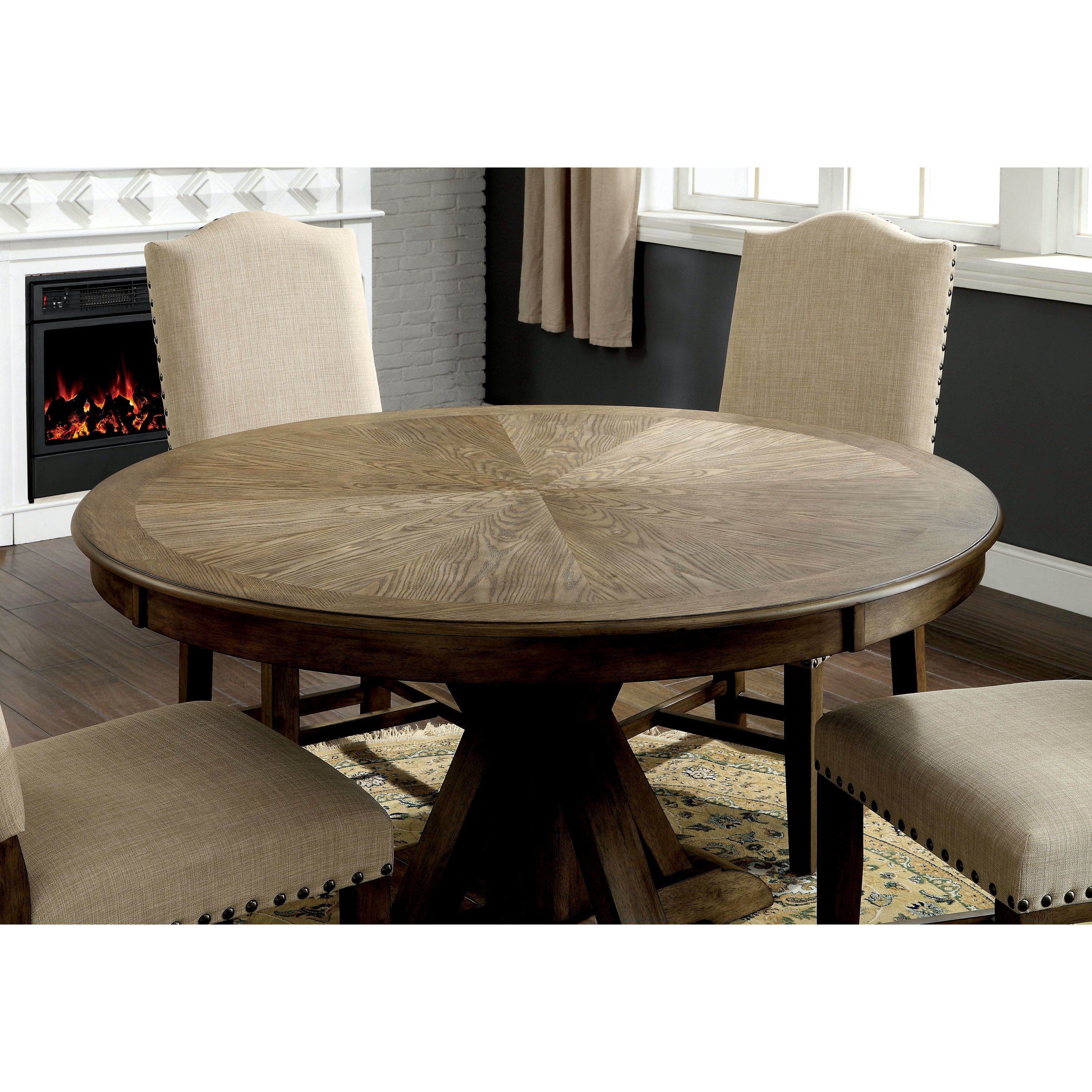 Shop Furniture Of America Cooper Rustic Light Oak Round 54 Inch Pedestal Dining  Table   On Sale   Free Shipping Today   Overstock   19826047