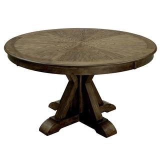Furniture of America Cooper Rustic Light Oak Round 54-inch Pedestal Dining Table