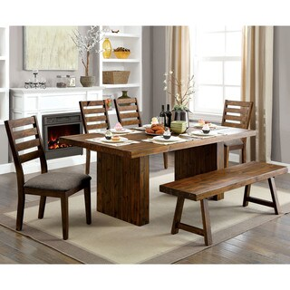 Furniture of America Norris Rustic Walnut-finish Wood Plank-style Dining Table - Walnut