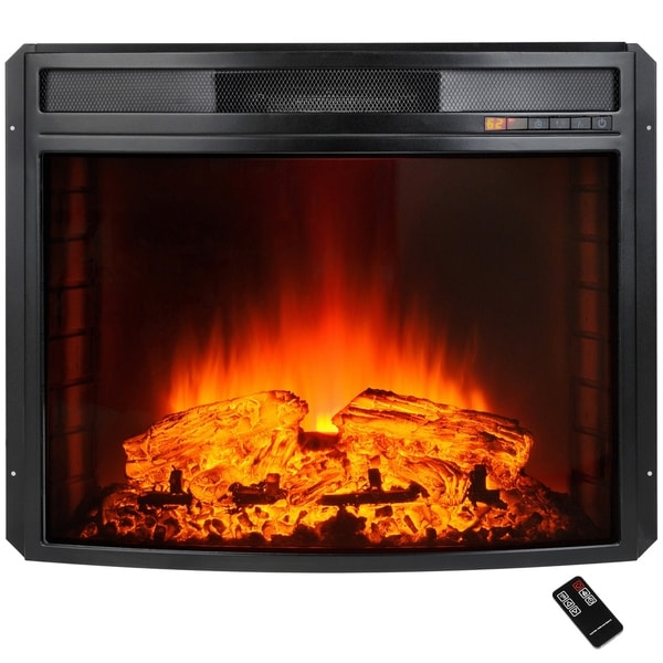 "AKDY 28"" Black Electric Firebox Fireplace Heater Insert Curve Glass Panel with Remote Control"