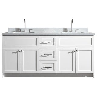 Ariel Hamlet 73 In. Double Sink Vanity With White Quartz Countertop In White