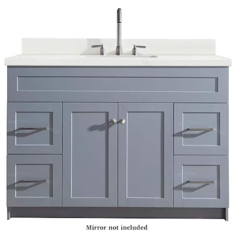 Ariel Hamlet 49 In. Single Sink Vanity with White Quartz Countertop in Grey