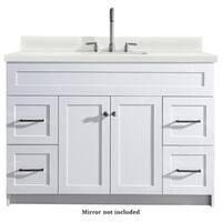 Ariel Hamlet 49 In. Single Sink Vanity With White Quartz Countertop In White