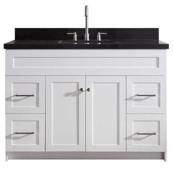 Ariel Hamlet 49 In. Single Sink Vanity With Absolute Black Granite Countertop In White