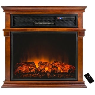 """AKDY 29"""" Adjustable Setting Freestanding Tempered Glass Electric Fireplace Heater w/ Remote Control"""