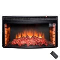 "AKDY FP0061 35"" Freestanding Insert Multi Level Heat Electric Fireplace Heater w/ LED Log 3D Flame"