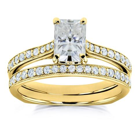 Annello by Kobelli 14k Gold 1 3/5ct TGW Radiant Moissanite and Diamond Euro-BandTrellis Bridal Rings Set (GH/VS, GH/I)