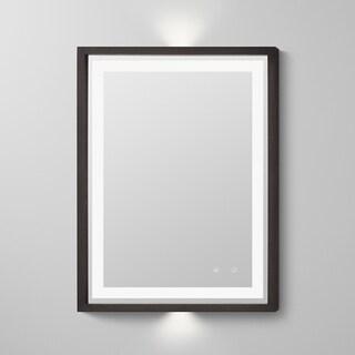 "30"" Albert Wood Frame LED Mirror in Oak Toscana"