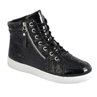 Forever FP54 Women's Glitter Lace Up White Sole Ankle Street Sneakers