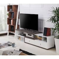 Furniture of America Yonova Modern Dark Grey/White Geometric 71-inch TV Stand