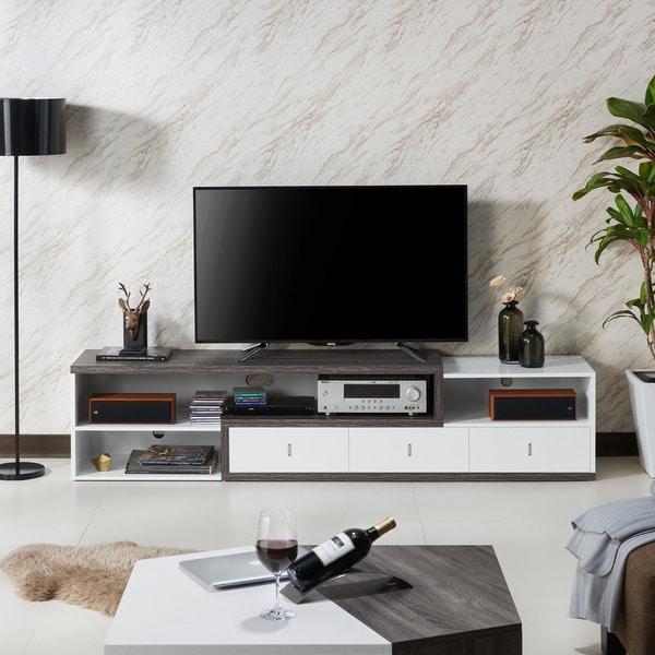 Furniture Of America Yonova Distressed Grey And White Modern Geometric  83 Inch TV Stand