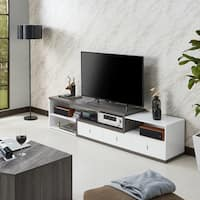 Furniture of America Yonova Distressed Grey and White Modern Geometric 83-inch TV Stand - 83 inches in width