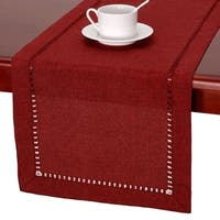 Handmade Hemstitched Polyester Rectangle Table Runner Cranberry 14x72
