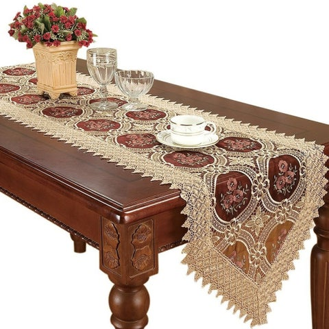 Vintage Gold Burgundy Lace Table Runner 16 x 72