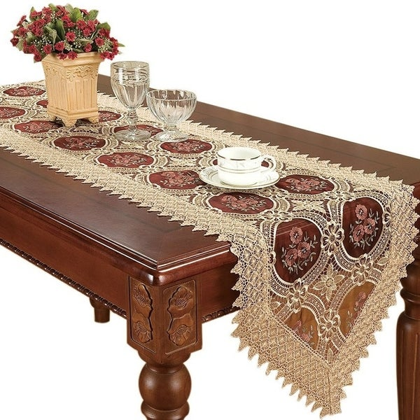 Shop Vintage Gold Burgundy Lace Table Runner 16 X 72   On Sale   Free  Shipping On Orders Over $45   Overstock   19832527