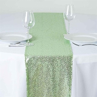 12 X 120 Inch Mint Sparkly Sequin Table Runner