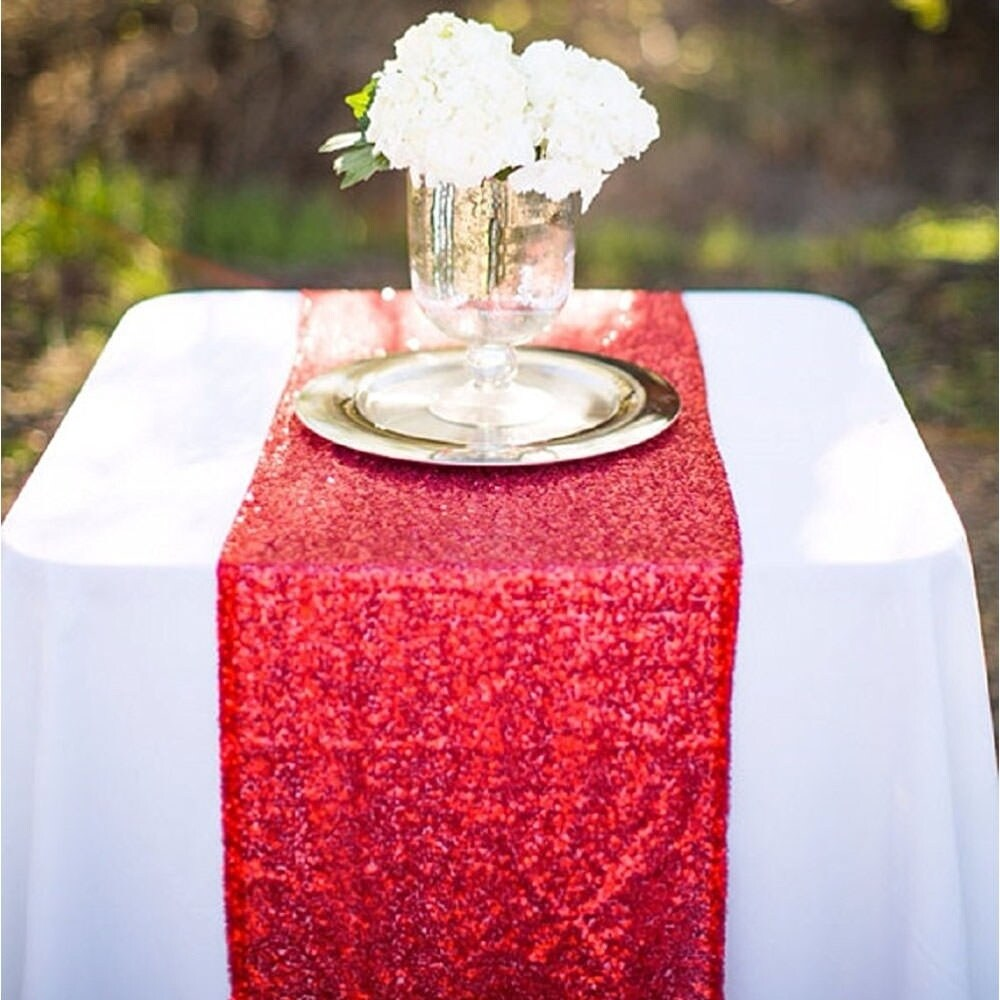 Bon Shop 12 X 120 Inch Red Sequin Table Runner   On Sale   Free Shipping On  Orders Over $45   Overstock   19832609