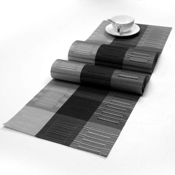 Washable Woven Vinyl Table Runner 54 X 12 Black And Grey