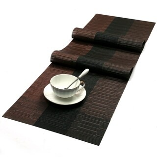 Washable Woven Vinyl Table Runner 54 x 12 Coffee and Black