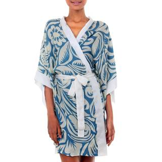 Handmade Silk 'Floral Kimono' Robe (Indonesia)