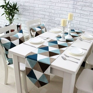 Modern Geometric Triangle Pattern Table Runner 12 x 72 Blue and Coffee