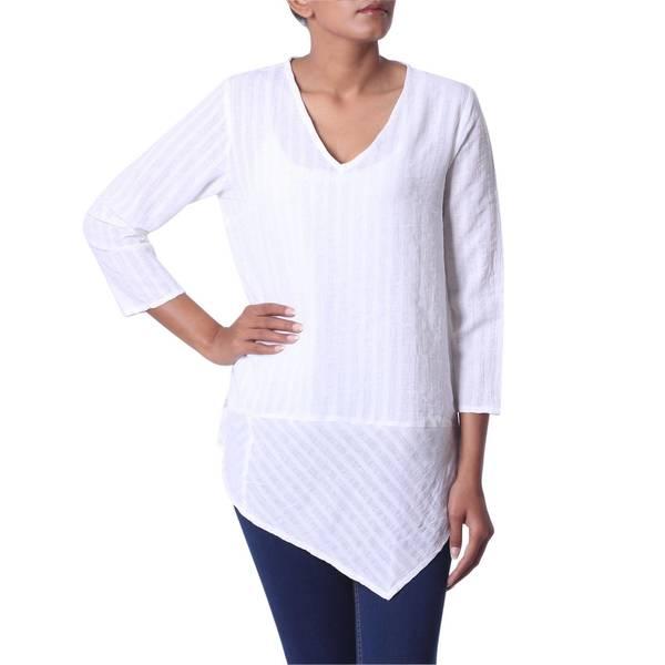 Handmade Cotton 'Cool Bliss' Tunic (India)
