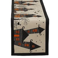 """Cotton, Spooky, Scary, Haunted House 14 x 72"""" Halloween Table Runner"""