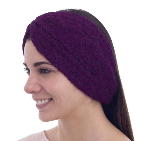 Handmade Alpaca Blend 'Burgundy Braid' Headband Ear Warmer (Peru)