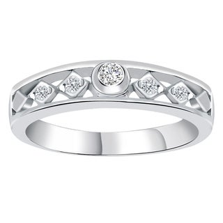 Orchid Jewelry 925 Sterling Silver 0.25Ct. White CZ 5-Stone Anniversary Band Ring