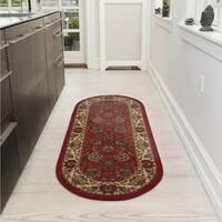 """Ottomanson Ottohome Traditional Persian Oriental Design Non-Slip Oval Runner Rug - 1'8"""" x 4'11"""""""