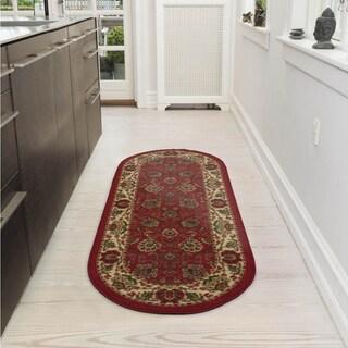 Ottomanson Ottohome Traditional Persian Oriental Design Non-Slip Oval Runner Rug (2' X 5')