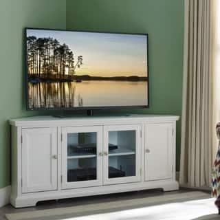 copper grove hoxie white wood glass corner tv console - Corner Entertainment Center