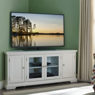 White 57 In. Corner TV Console