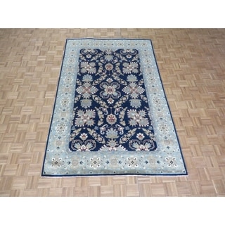 """Hand Knotted Navy Blue Mahal / Peshawar with Wool Oriental Rug - 6' x 9'3"""""""