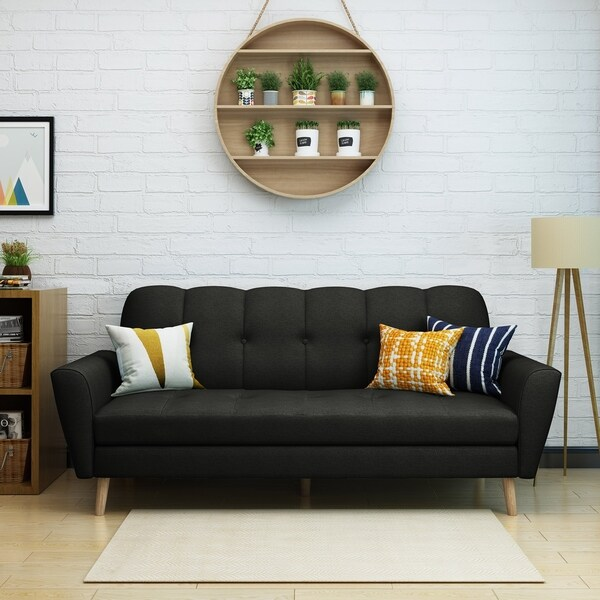 Sofas Overstock Sofa With Perfect Balance Between Comfort: Shop Treston Mid Century Fabric Sofa By Christopher Knight